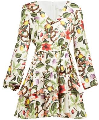 Borgo de Nor Olivia Garden-print Silk-twill Mini Dress - Womens - White Multi