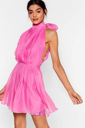 Nasty Gal Womens Put a Bow on It Halter Mini Dress - Fuchsia