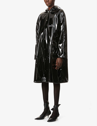 Rokh Hooded patent raincoat