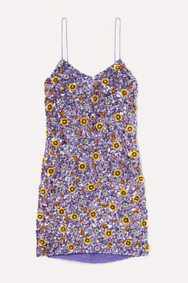 Ashish Embellished Sequined Georgette Mini Dress - Lilac