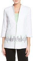 Ming Wang Women's Border Stitch Knit Jacket