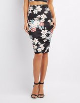 Charlotte Russe Floral Bodycon Midi Skirt