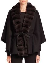Guy Laroche Fur-Trimmed Cashmere & Wool Cape