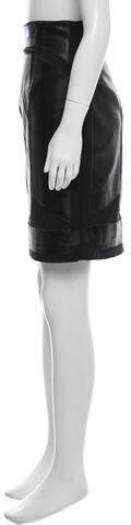 Nicole Miller Leather-Accented Knee-Length Skirt