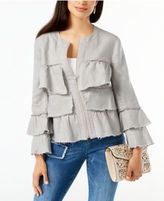 INC International Concepts Petite Linen Ruffled Jacket, Only at Macy's
