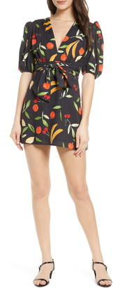 Finders Keepers Calypso Fruit Print Short Sleeve Minidress