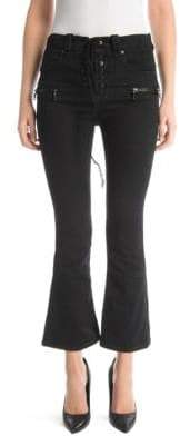 Unravel Project Unravel Project Women's Lace-Up Kick Flare Jeans - Black - Size 29 (6-8)
