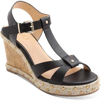 XOXO Isla T-Strap Espadrille Wedge Sandals Women Shoes