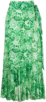 Ganni Rose Print Wrap Skirt