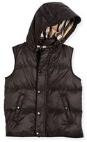 Burberry Carlton Hooded Puffer Vest, Charcoal Gray, Size 4-14