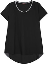 High Snippet Black Mesh And Jersey Top