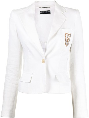 Dolce & Gabbana Pre-Owned Embroidered Logo Single-Breasted Blazer