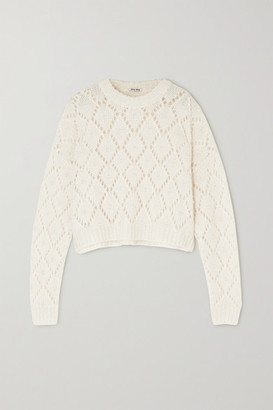 Miu Miu Faux Pearl-embellished Open-knit Sweater - Cream
