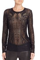 BCBGMAXAZRIA Long Sleeve Burnout Top