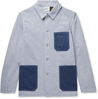 Loewe + Paula's Ibiza Distressed Colour-Block Cotton-Chambray Shirt Jacket