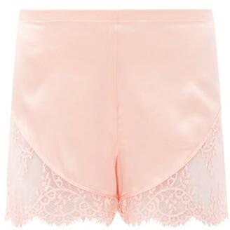 La Perla Exotique Lace-trimmed Silk-blend Satin Shorts - Pink