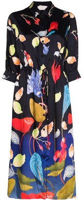 Peter Pilotto Floral Print Midi Shirt Dress