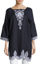Neiman Marcus Long-Sleeve Square-Neck Linen Tunic Dress, Blue/White