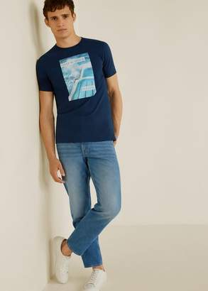 MANGO MAN - Photo print t-shirt blue - XS - Men