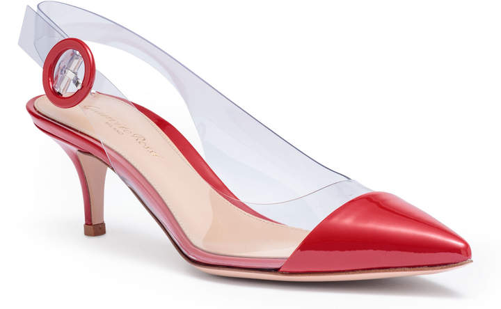 Gianvito Rossi Plexi 55 red patent leather sling back pumps
