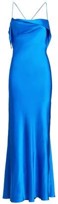 Mason by Michelle Mason Cowl Ruffle Silk Gown