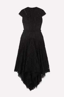 Costarellos Asymmetric Pleated Embellished Guipure Lace Midi Dress - Black