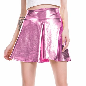 Imekis Women Girls A-Line Mini Skirt Solid Color High Waist Pleated Skater Micro Dress Shiny PVC Metallic Faux Leather Short Flared Hippie Skirt Evening Pole Dancewear Cocktail Party Clubwear Black XXL