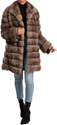 Gianfranco Ferre Horizontal Russian Sable Fur Stroller W/ Notch Collar