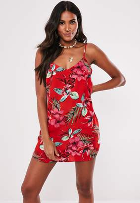 Missguided Petite Red Floral Crepe Cami Shift Dress