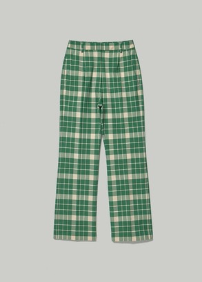 MM6 MAISON MARGIELA Women's Pleat Front Trouser Pants in Green Check Size 40