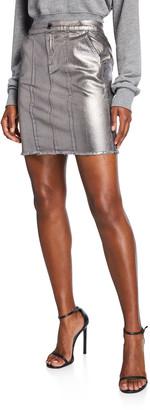 Pinko Silver Denim Mini Skirt
