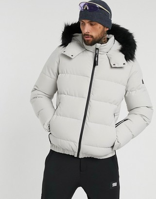 Asos 4505 padded ski jacket with faux fur trim