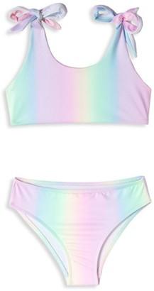 Stella Cove Little Girl's & Girl's 2-Piece UPF 50+ Rainbow Tie-Shoulder Bikini Set
