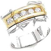 goldia 14k Two-tone Gold Natural Diamond Men's Band Ring I2 Clarity And I/j Color