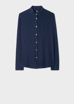 Paul Smith Women's Navy Silk Shirt With Multi-Coloured Button Placket