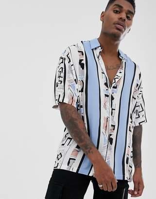 Asos Design DESIGN oversized shirt in geo-tribal print-White
