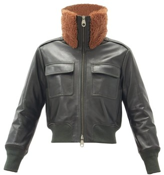Chloé Shearling-collar Leather Bomber Jacket - Green