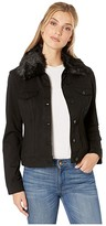 Liverpool Classic Jean Jacket w/ Detachable Faux Fur Collar in Super Stretch Ponte (Black) Women's Clothing