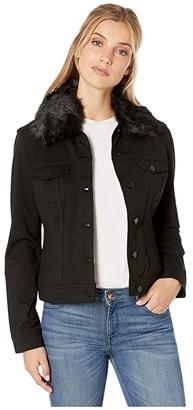 Liverpool Classic Jean Jacket w/ Detachable Faux Fur Collar in Super Stretch Ponte (Black) Women's Clothing