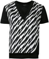 DSQUARED2 houndstooth slit V-neck T-shirt - women - Silk/Viscose - 40