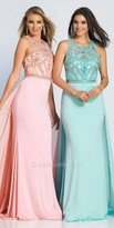 Dave and Johnny Sheer Intricate Beaded Natural Waist Prom Dress