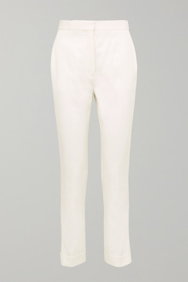 Stella McCartney Satin-trimmed Grain De Poudre Wool Pants - Ivory