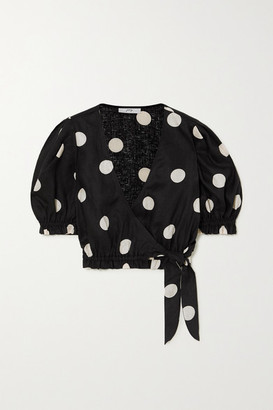 Peony Swimwear Net Sustain Macaroon Cropped Polka-dot Linen Wrap Top - Black