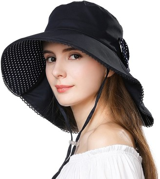 Jeff & Aimy Ladies Sun Hats Packable UPF 50 UV Protection Wide Brim Summer Hats for Women Foldable Neck Flap with Chin Strap Cotton Navy 57CM