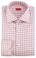 Isaia Box-Check Woven Dress Shirt, Soft Mauve