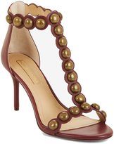 BCBGMAXAZRIA Women's ANKAH Studded Leather Sandal ,7