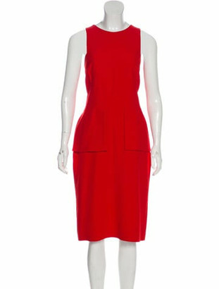 Alexander McQueen Crew Neck Midi Length Dress Red