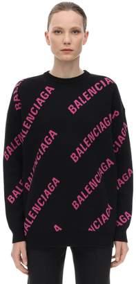 Balenciaga OVERSIZE LOGO COTTON JACQUARD SWEATER