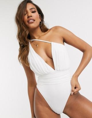 ASOS DESIGN one shoulder drape mesh swimsuit In white