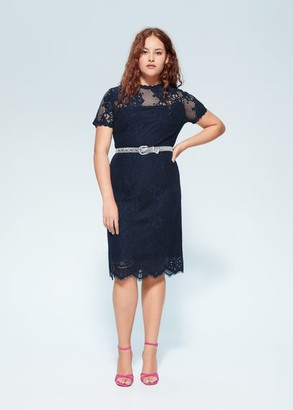 MANGO Violeta BY Lace dress dark navy - 10 - Plus sizes